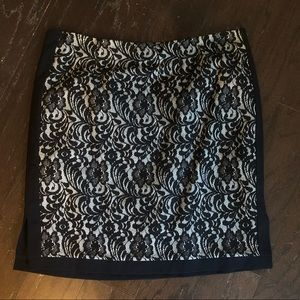 Black and White Pencil Skirt with Design.